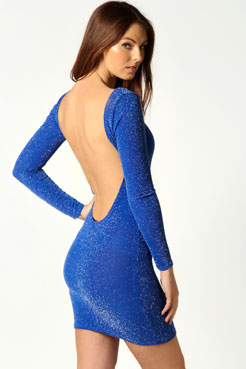 Sarah Metallic Extreme Scoop Back Bodycon Dress at boohoo.com