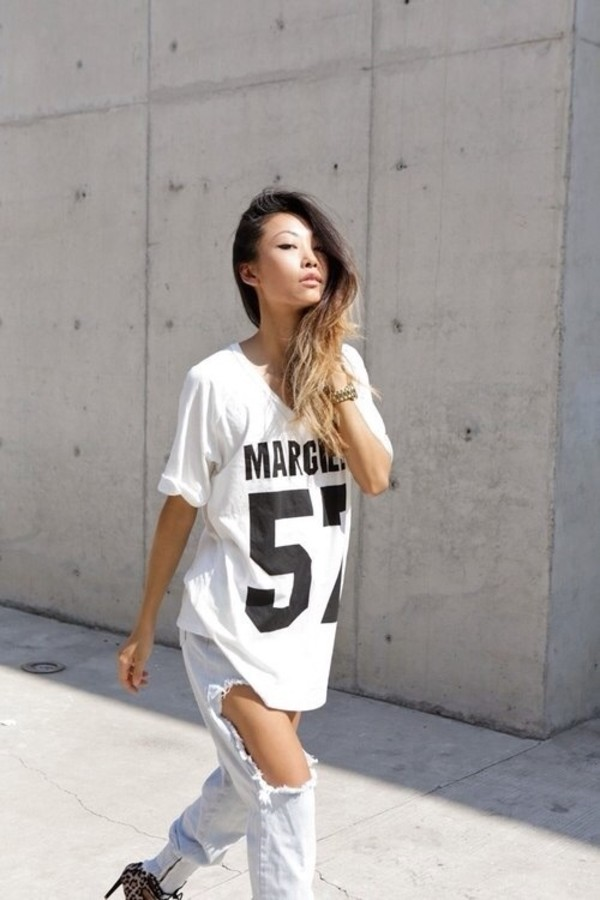 t-shirt margiela white t-shirt jersey jeans ripped jeans ripped jeans black