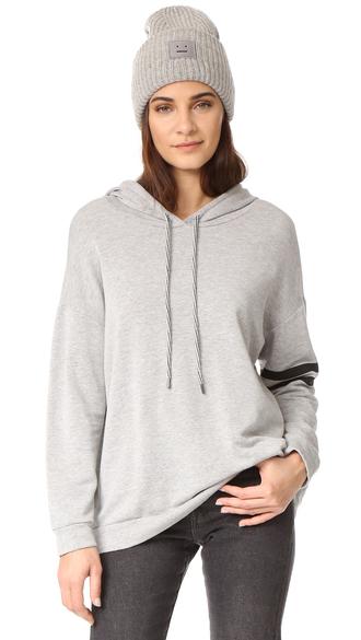 sweater fashion clothes hevera sweatshirt striped sleeves crushed velvet fleece jacket top shopbop