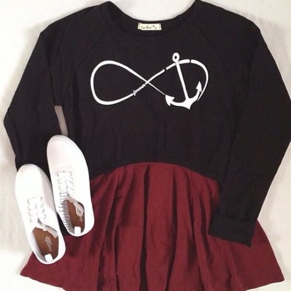 shirt infinity skirt blouse red skater skirt