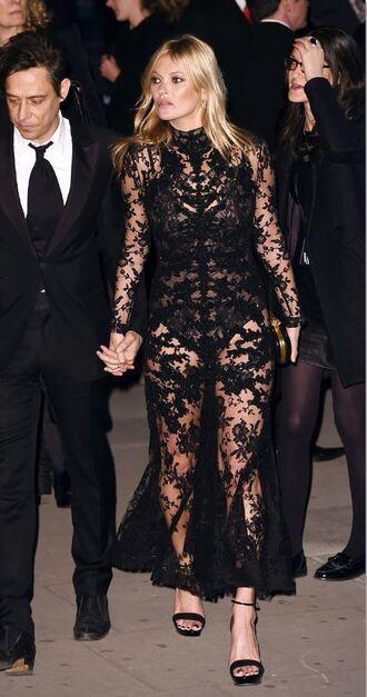 dress lace dress lace black kate moss sandals gown red carpet dress bag clutch
