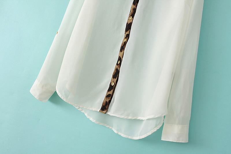 White Long Sleeve Contrast Leopard Lapel Blouse - Sheinside.com