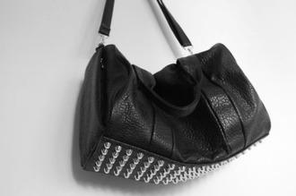 bag black studs shoulder bag leather leather bag alexander wang stud rose gold