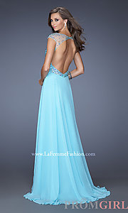 Prom Dresses, Celebrity Dresses, Sexy Evening Gowns - PromGirl: Long High Neck Gown with Cap Sleeves