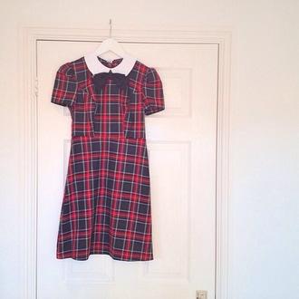 dress red and black plaid dress pretty vintage peter pan collar dress