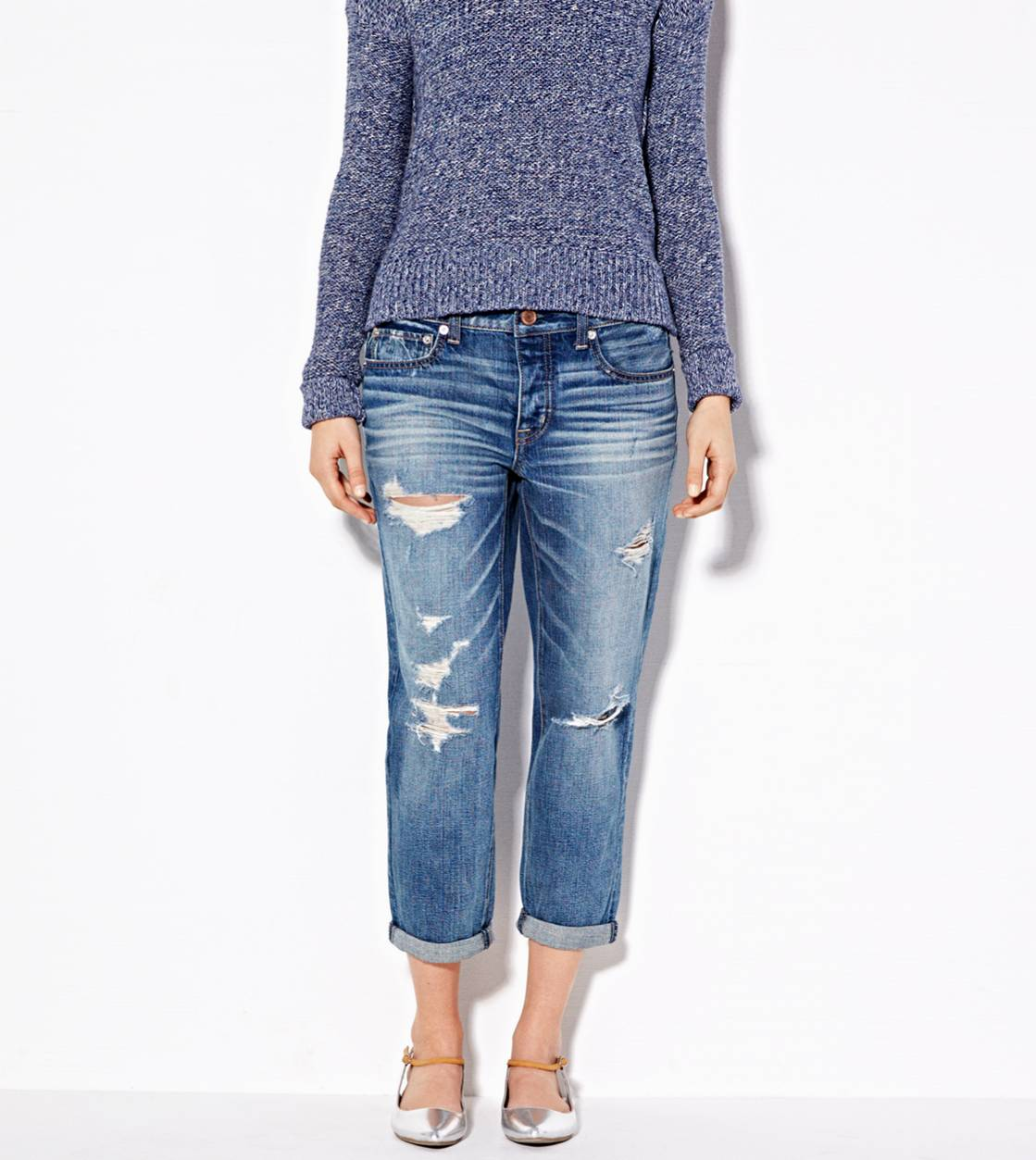 Boy Jean Crop, Medium Destroyed | American Eagle Outfitters