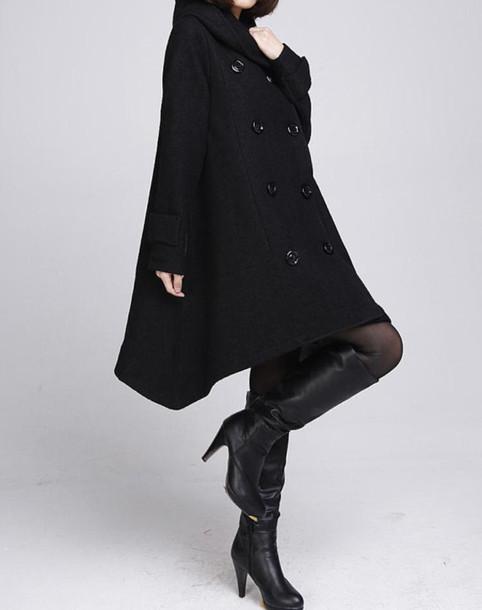 coat cloak coat wool coat wool coat with cape