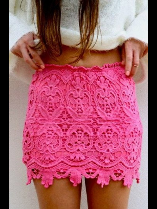 skirt pink skirt lace skirt sweater