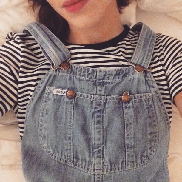 alexa chung denim dungarees stripes overalls t-shirt