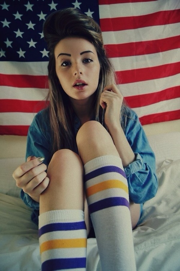 jacket socks american flag tumblr girl red white nail polish