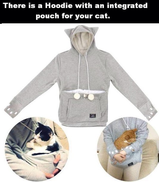 cat pouch grey sweater cats animal cute animal clothing