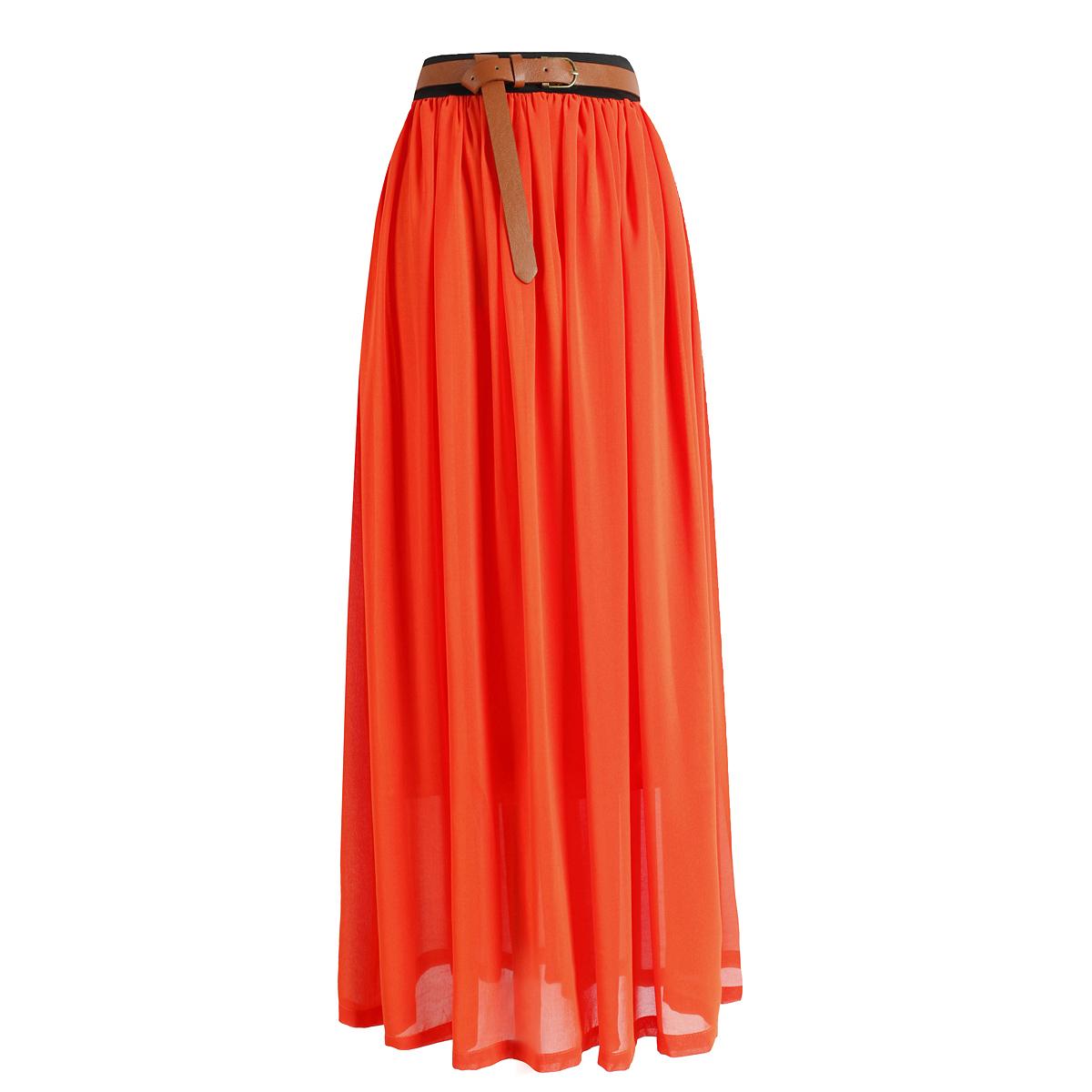 Women Double Layer Chiffon Maxi Dress Pleated Retro Long Elastic Waist Skirt | eBay