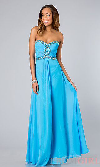 Prom Dresses, Celebrity Dresses, Sexy Evening Gowns - PromGirl: Strapless Empire Waist Chiffon Gown