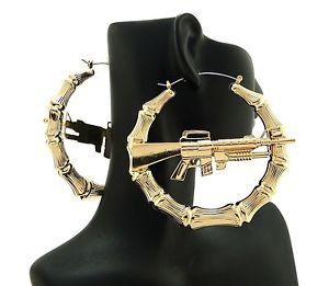 New Celebrity Style 'Machine Gun' Hollow Bamboo Hoop Pincatch Earrings HYER29 | eBay