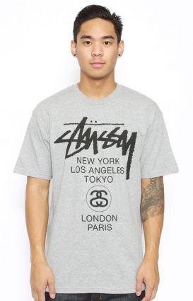 Stussy, H12 World Tour T-Shirt - Grey - T-Shirts - MOOSE Limited
