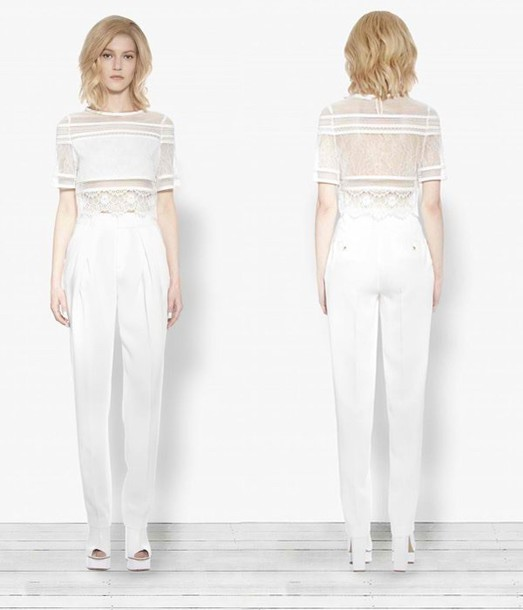 pants white pants high waisted pants straight leg jeans wide-leg pants