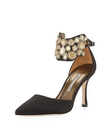 Manolo Blahnik Amatis Embellished Ankle-Wrap Pump, Black