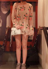 Floral Frayed Cuffs Top - Apricot - Blouse