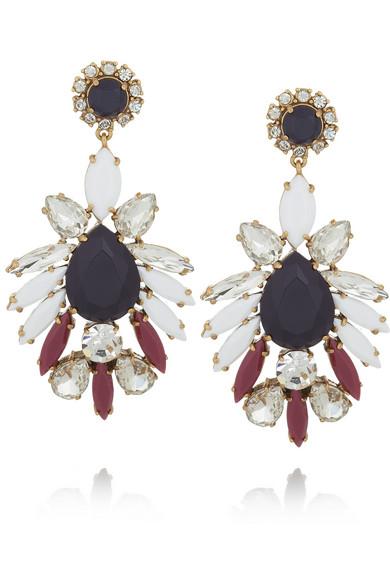 J.Crew Persian Leaves gold-tone crystal earrings NET-A-PORTER.COM