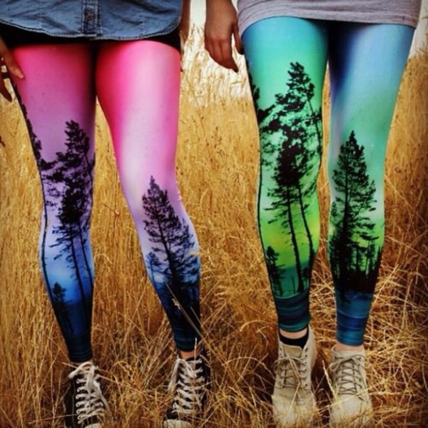 leggings sunset blue green pink sky tree