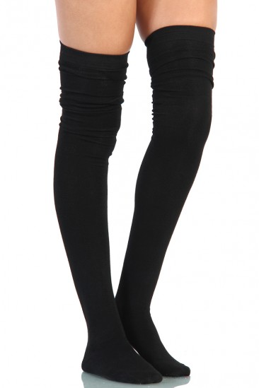 LoveMelrose.com From Harry & Molly   Thigh High Socks - Black