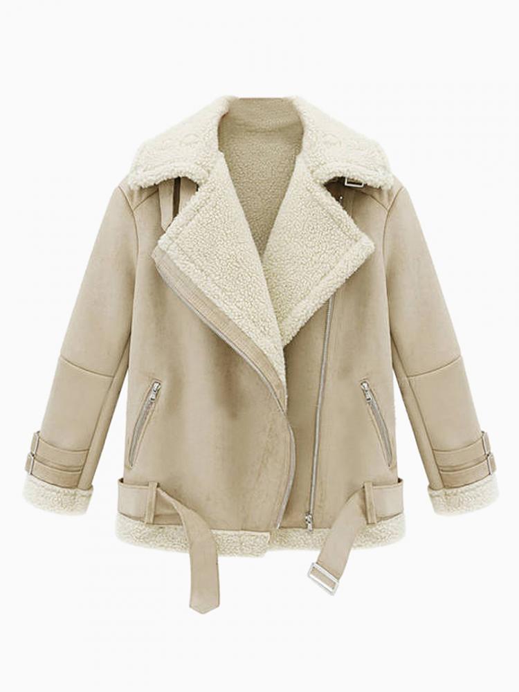 Shearling Lapel Biker Coat | Choies
