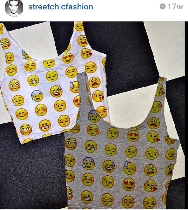 top crop tops emoji print emoji print