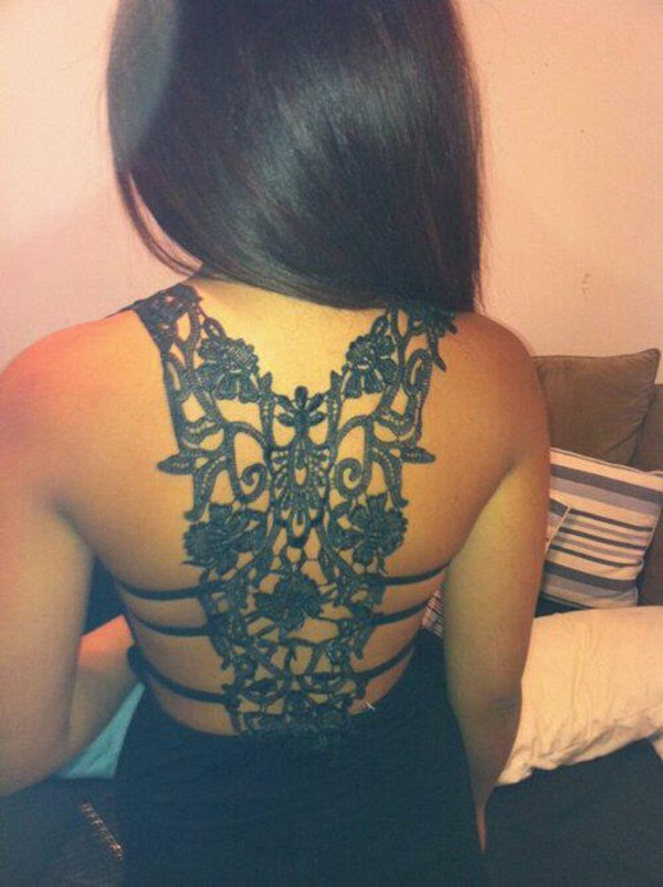 dress open back dresses open back detail lace black hot hair girl black dress style flowers back design