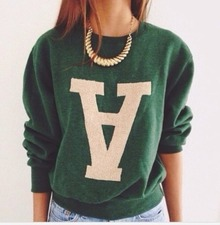 Green sweater with A upside down - sweaters - Spot & Shop