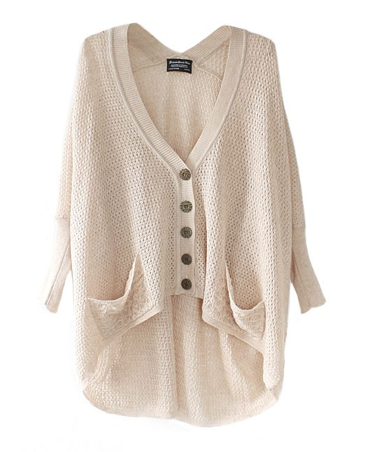 Off-white Sweater - Beige Button Down Hi-Low Hem   UsTrendy