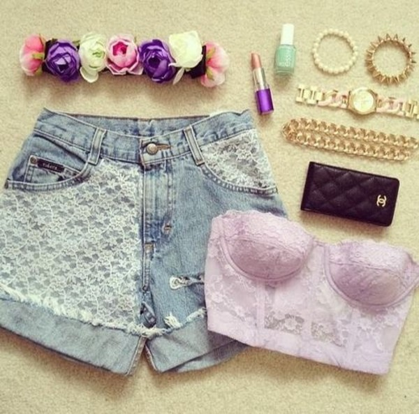 shorts flowered shorts lace up vans tank top hat cute essie floral chanel nail polish
