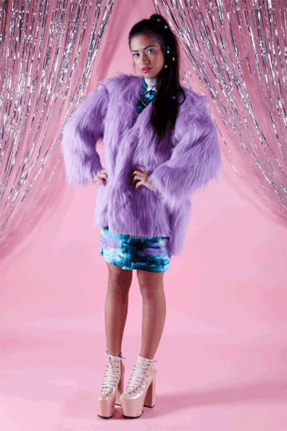 coat pastel grunge purple faux fur coat pastel pastel goth