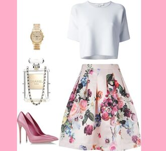 skirt floral floral skirt chanel inspired clutch handbag shoes watch fashion crop tops white pink summer outfit look lookbook flowers nude top short sleeve blouse shirt summer outfits bottoms pleated skirt clear accessories girly t-shirt bag jewels