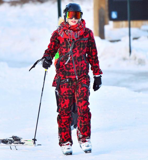 jacket gwen stefani winter outfits red pants