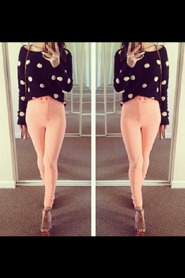 pants pink padded skinny pants high waisted jeggings jodphurs sweater shoes