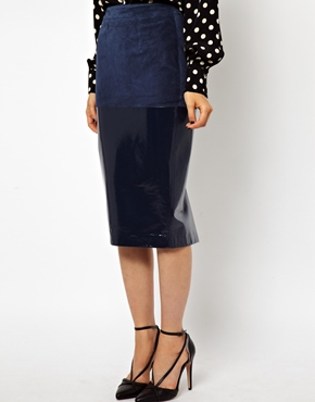 ASOS | ASOS Pencil Skirt in Leather and Suede Mix at ASOS