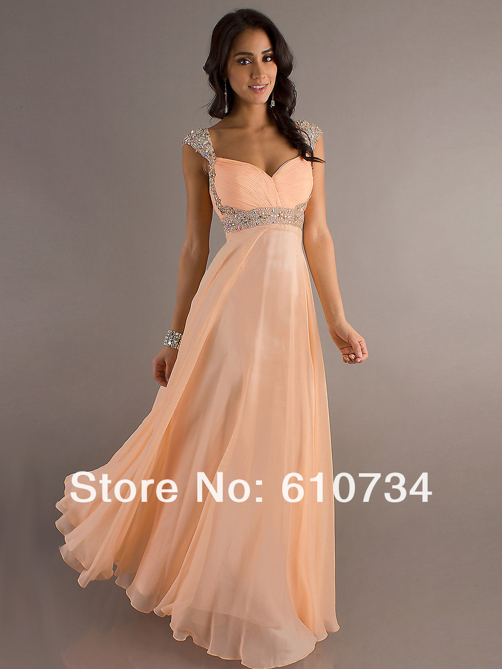 Free Shipping! PS02 In Stock Chiifon Beaded Ruffle Floor Length Prom Dress 2014-in Prom Dresses from Apparel & Accessories on Aliexpress.com