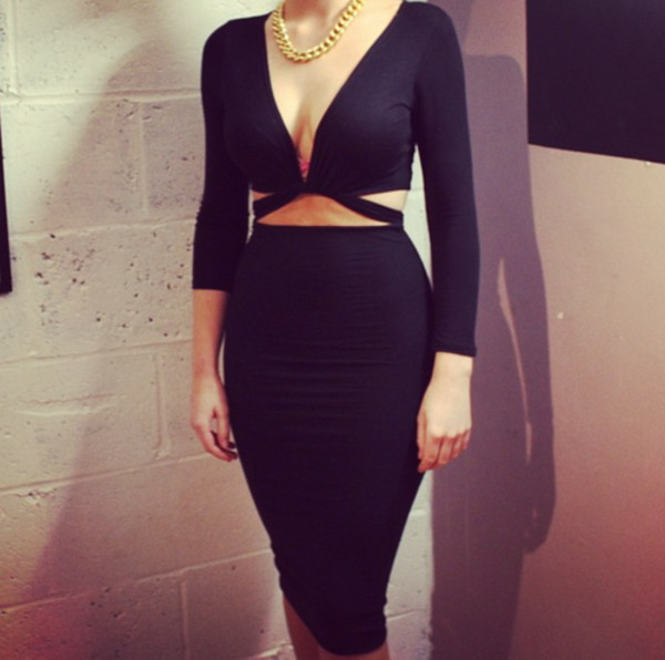 dress black two-piece set cut-out high waisted deep cut long sleeves jewels