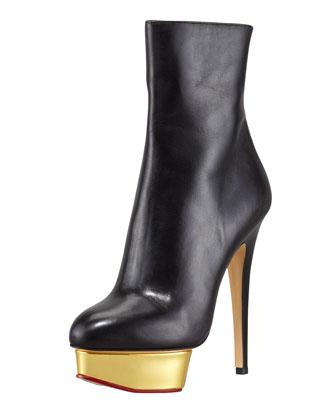 Charlotte Olympia Lucinda Golden Platform Ankle Boot - Neiman Marcus