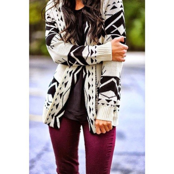 cardigan geometric fashion style fall outfits outfit
