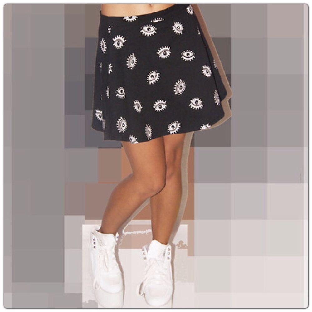 H M BNWT Eyes Denim Skater Flippy Mini Skirt Grunge Hipster Goth Hippie Vtg Chic | eBay