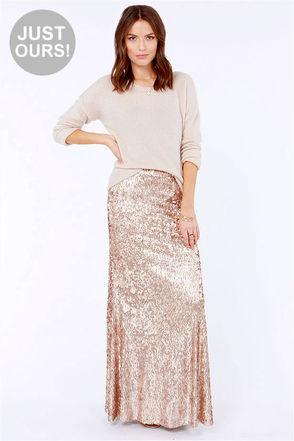 Pretty Gold Skirt - Sequin Skirt - Maxi Skirt - $95.00