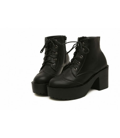 Black Leather Platform Lace-Up Brogue Heel Boots