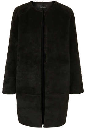Faux Fur Bonded Throw On Coat - Jackets & Coats  - Clothing  - Topshop