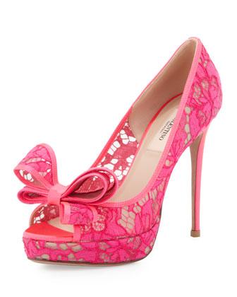 Valentino Peep-Toe Lace Bow Pump, Pink - Neiman Marcus