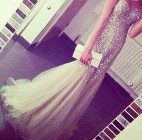 dress fishtail amazing sparkle diamonds champagne dress prom dress