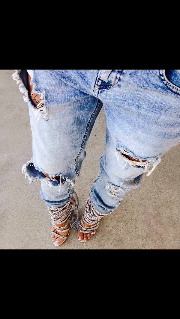 jeans denim cut-out ripped jeans ripped jeans blue jeans