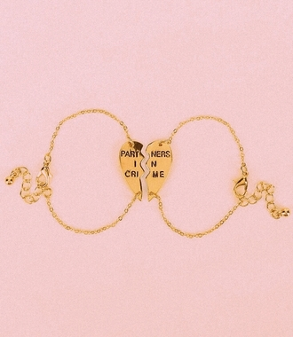 jewels partners in crime gold heart bff rose gold bracelets best friend bracelet urban outfitters jewelry friendship bracelet girl fashion jewerly partner in crime