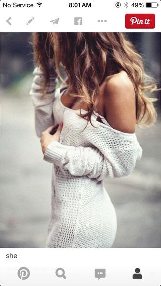 dress knitwear knitted sweater blouse blonde hair cute pretty white sweater knitted dress sweater dress oversized white sweater sweater