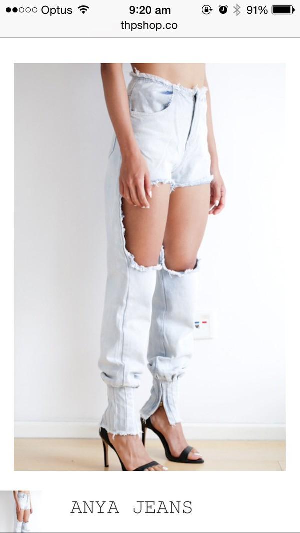 jeans anya jeans ripped distress denim cut
